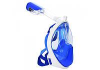 Маска для подводного плавания EasyBreath, снорклинг,панорамная маска для плавания, синяя размер L/XL