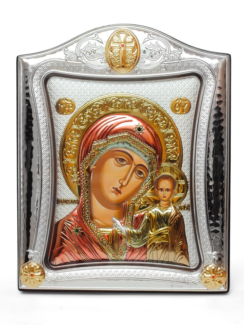 Эксклюзивная серебряная икона Казанская Божья Матерь 20х25см под стеклом