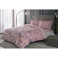Постельное белье Tac сатин - Rain pembe v05 розовый евро