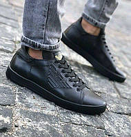 Кожаные кеды кроссовки Armani Jeans Black