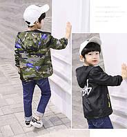 Двусторонняя детская ветровка для мальчика Камуфляж-Черный 110-160