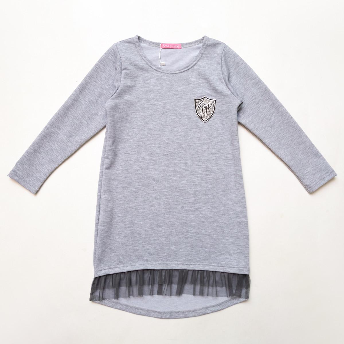 Платье трикотажное р.122,128,134,140,146,152 SmileTime для девочки Kelly, светло-серый