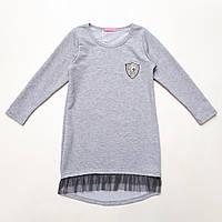 Платье трикотажное р.122,128,134,140,146,152 SmileTime для девочки Kelly, светло-серый, фото 1