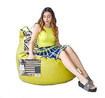 Кресло груша с карманом Люкскомфорт микс