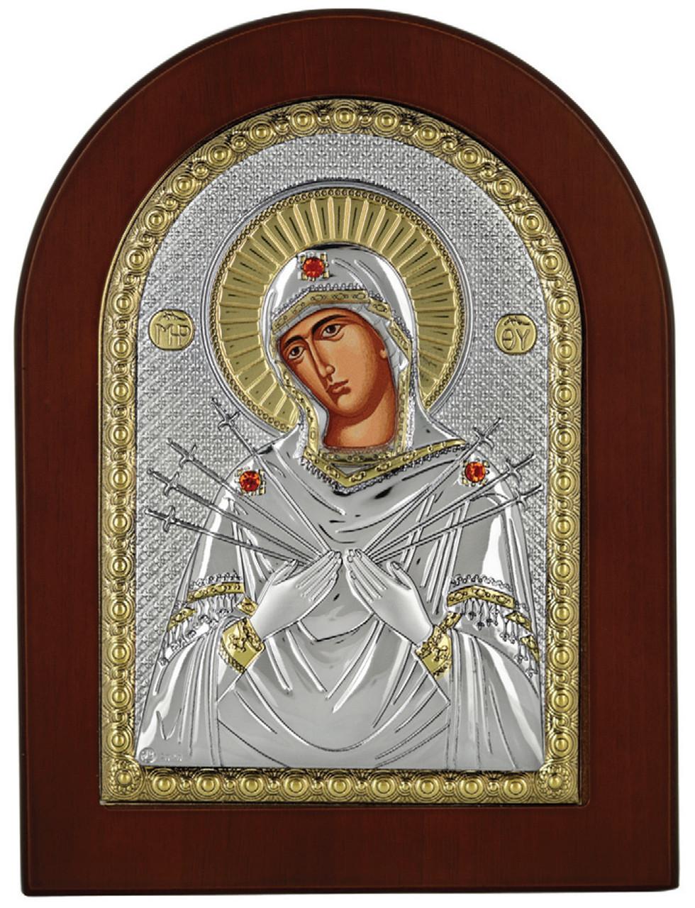 Икона Семистрельная Божья Матерь в серебряная и позолоте 20х25см (Греция)