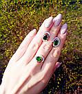 Кольцо и серьги с зеленым цирконом Валерия, фото 2