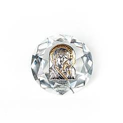 Икона в Хрустале Казанская Богородица  6,7х6,7см серебряная