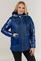 Демисезонная женская синяя куртка в стиле oversize, в-127, в расцветках (48,54,58) джинс