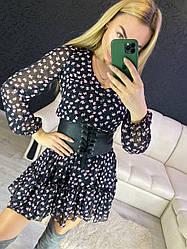 Нежное цветочное платье . Размеры С(42-44)М(44-46) (6335)