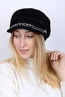 Черный кепи для женщин с цепочкой Карен