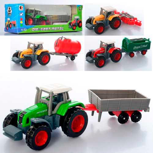 Игрушечный Трактор с прицепом 1801С-1ABCD 1:72