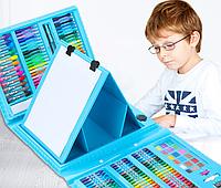 Набор для рисования детский  с мольбертом 176 предметов. Голубой