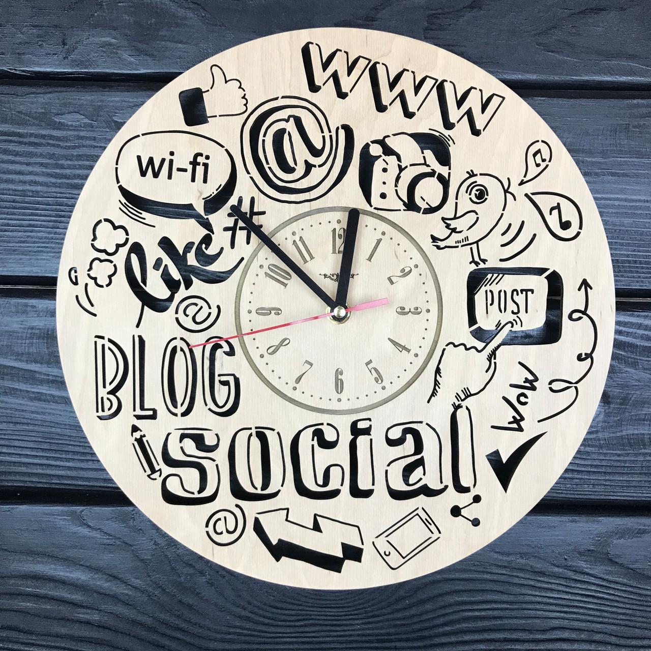 Дизайнерские часы из дерева «Блогерство»