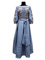Шикарное вышитое платье Роксолана голубой лен, 40- 52  размер