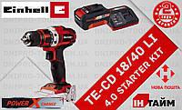 (Power X-Change) Аккумуляторный дрель шуруповерт Einhell TE-CD 18/40 Li (4513925) 4.0 kit