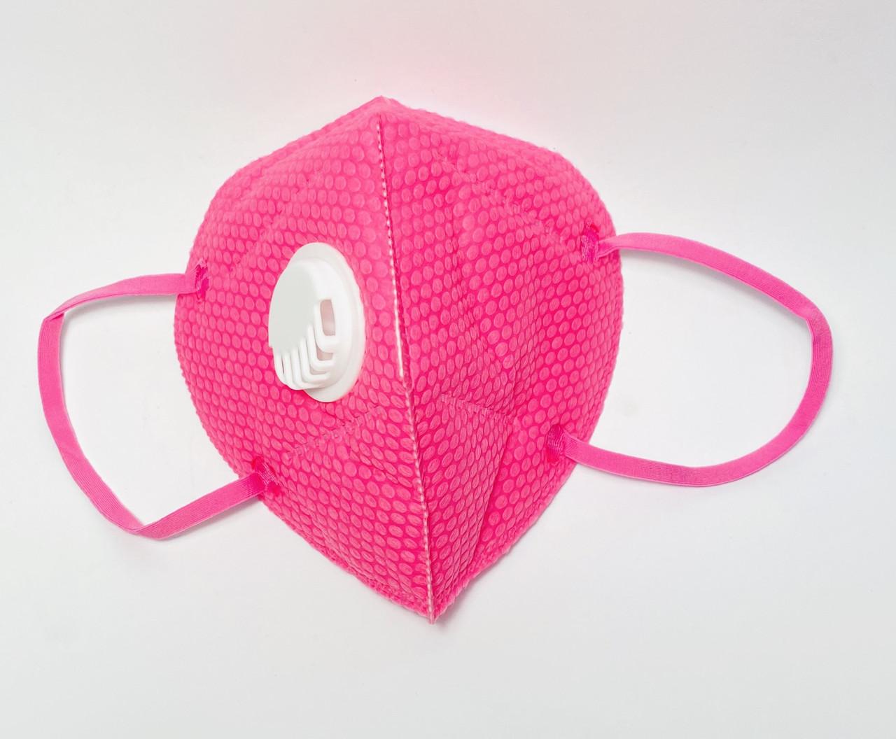 Маска захисна п'ятишарова з вугільним фільтром універсальна, рожева 1 шт