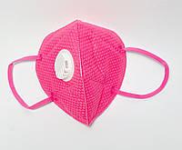 Маска захисна п'ятишарова з вугільним фільтром універсальна, рожева 1 шт, фото 1