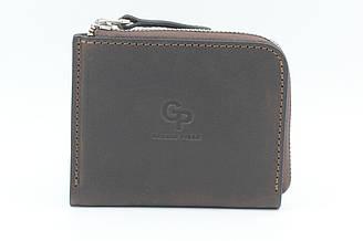 Оригинальный мужской коричневый кошелек Grande Pelle, портмоне из натуральной кожи на молнии (21099)