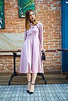 Нежное женское легкое платье с рюшами пудрового цвета