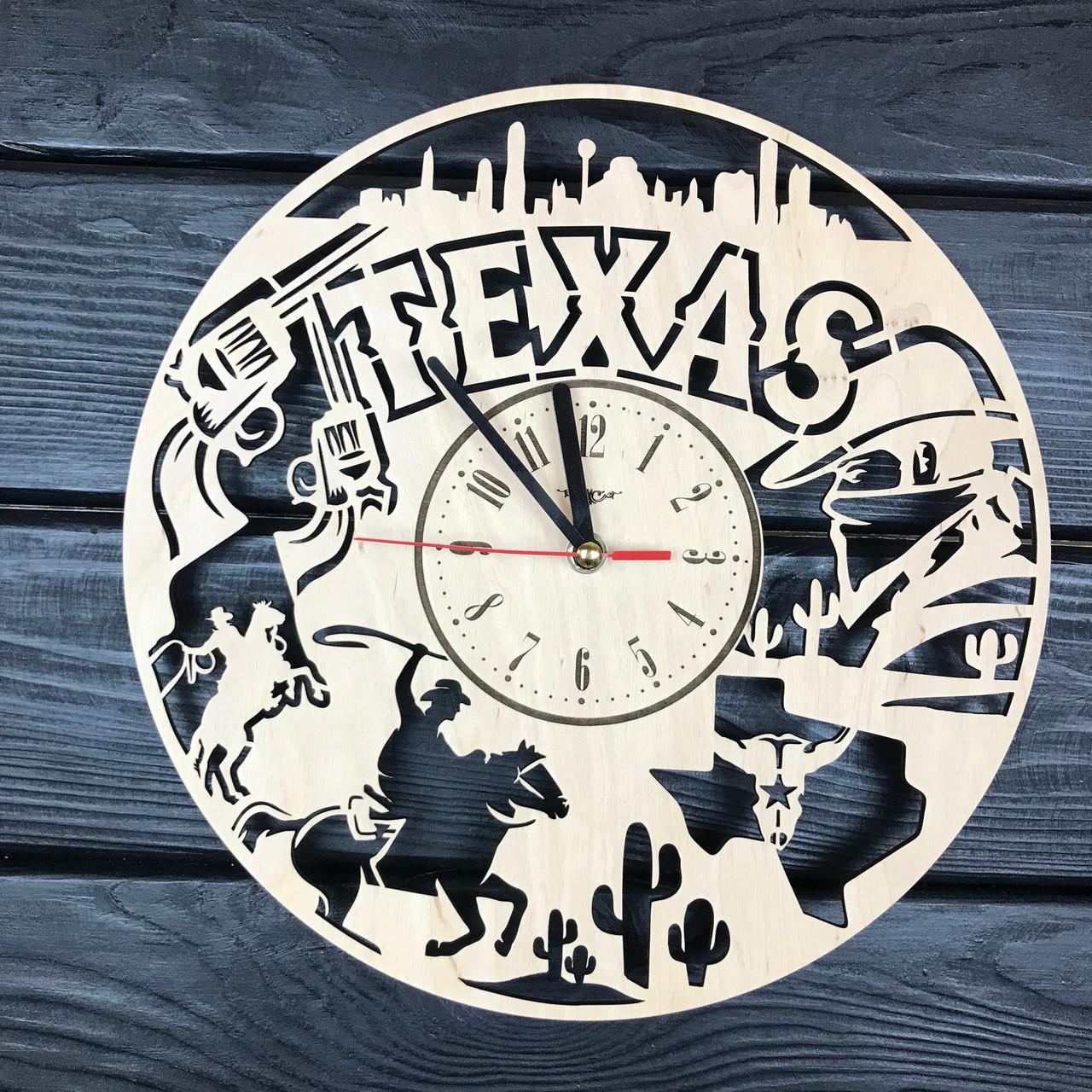 Оригинальные настенные часы из дерева «Техас»