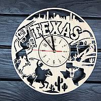 Оригинальные настенные часы из дерева «Техас», фото 1