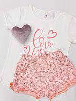 Детская пижама для девочки (футболка и шорты)