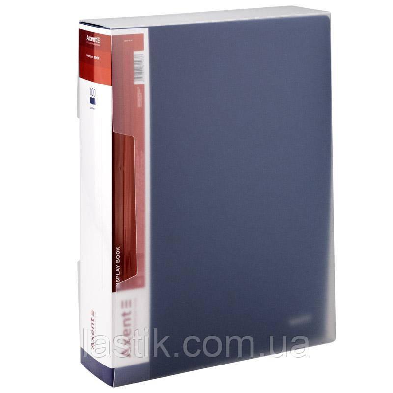 Дисплей-книга 100 файлів у пластиковому боксі. (колір синій)