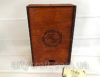 Бокалы с гравировкой в деревянной коробке с инициалами (№8) (красное дерево), фото 3