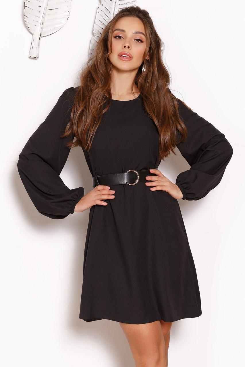 Женское платье свободного кроя с поясом Черный
