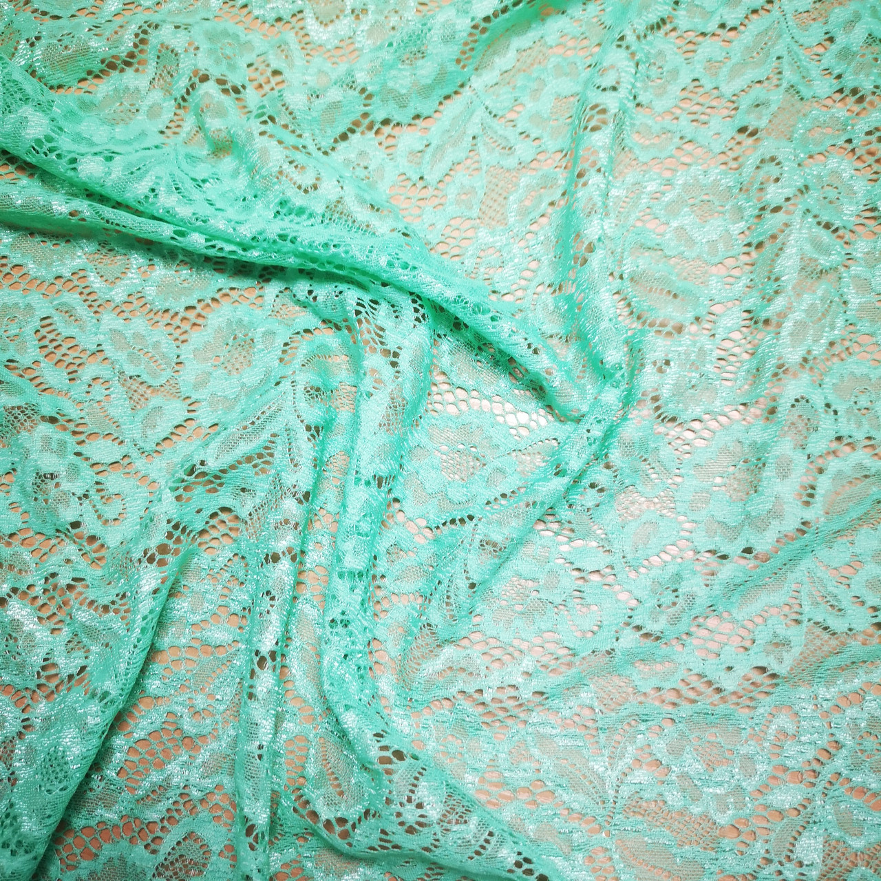 "Ткань гипюр стрейч ""Мария"" зеленая мята"