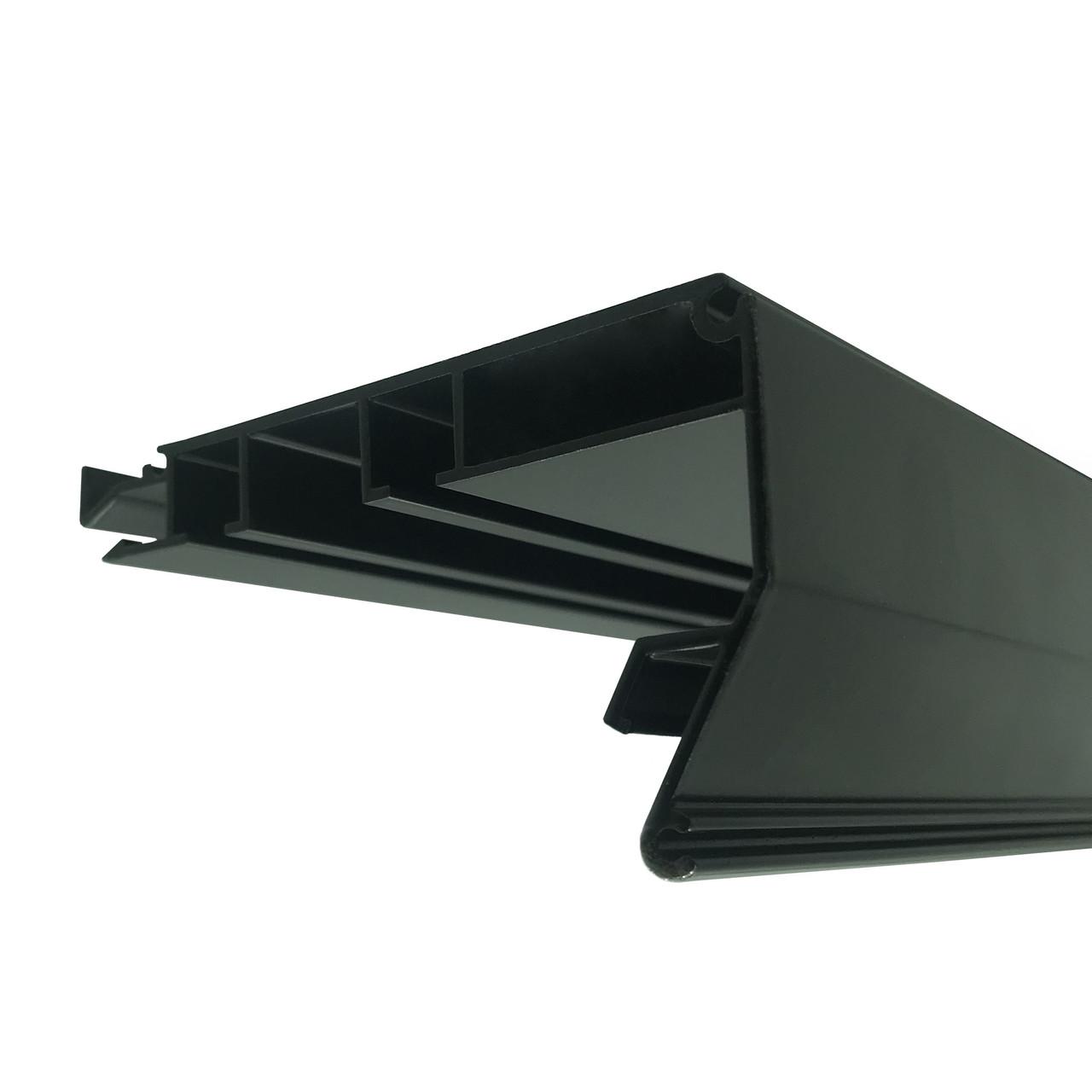 Профиль Гардина в Черном цвете для натяжных потолков. Двухполосный. С крючками для штор. Длина профиля 2,5 м.