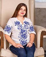 Женская блуза вышиванка Вышиваночка, большого размера, домотканое полотно , р.3ХЛ (54-56),4Хл (58-60)