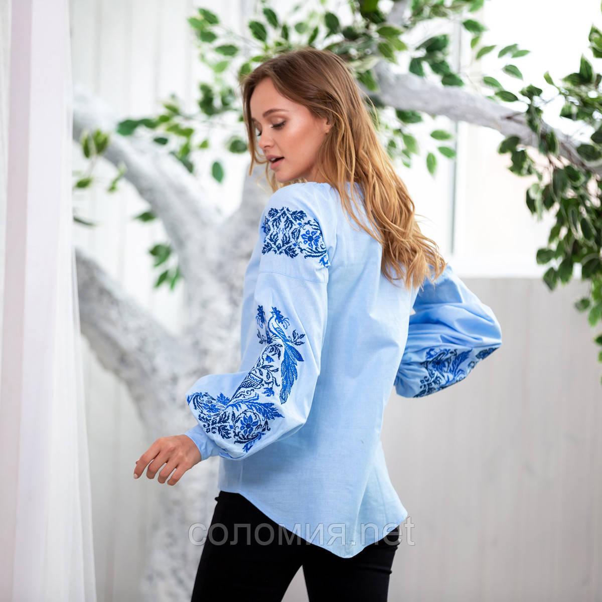 Нежная женская вышитая блуза из натуральной ткани. Вышиванка