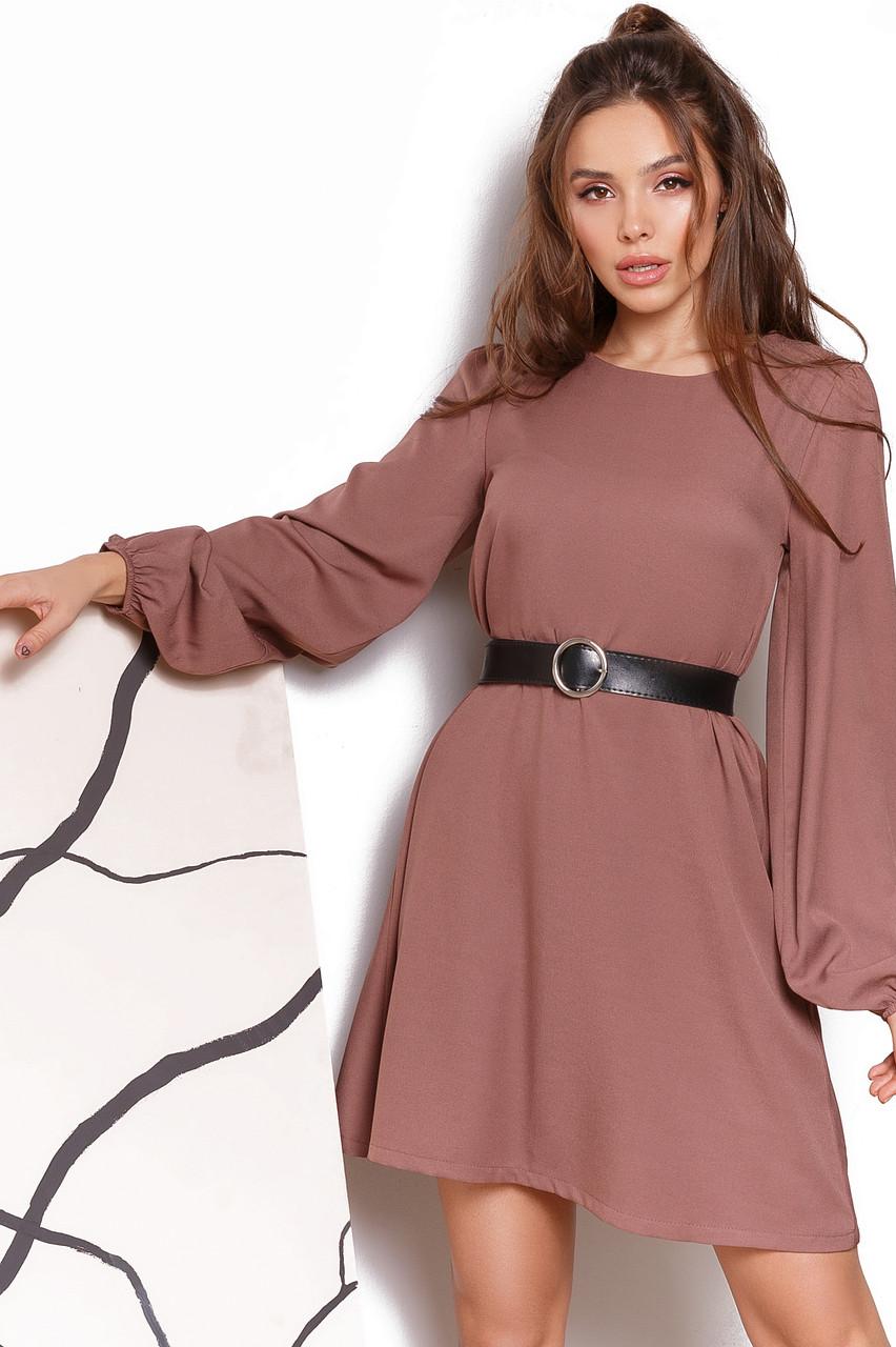 Женское платье свободного кроя с поясом Мокко