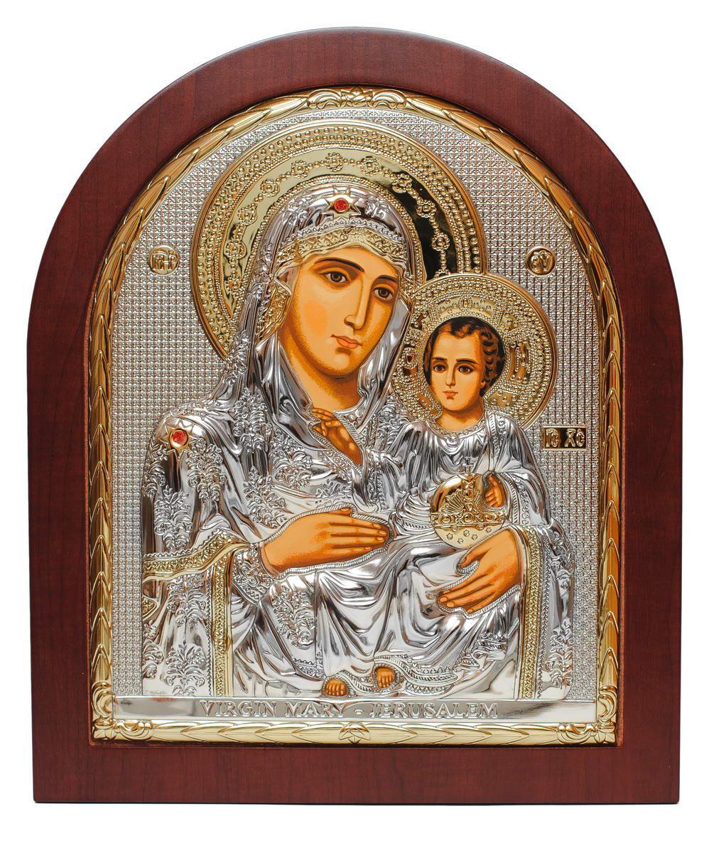 Иерусалимская Божья Матерь 31х26см Греческая икона  в серебре и золоте (GOLD)