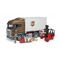 Игрушка Bruder логистический фургон UPS Scania с погрузчиком (03581)