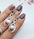Серебряные серьги с подвесом и жемчугом Марта, фото 2
