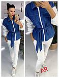 Женский комбинированный брючный повседневный костюм со вставками джинс-коттона (в расцветках), фото 2