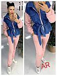 Женский комбинированный брючный повседневный костюм со вставками джинс-коттона (в расцветках), фото 3