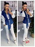 Женский комбинированный брючный повседневный костюм со вставками джинс-коттона (в расцветках), фото 4