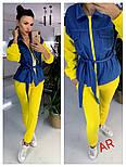 Женский комбинированный брючный повседневный костюм со вставками джинс-коттона (в расцветках), фото 5