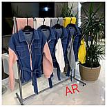 Женский комбинированный брючный повседневный костюм со вставками джинс-коттона (в расцветках), фото 7