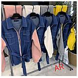Женский комбинированный брючный повседневный костюм со вставками джинс-коттона (в расцветках), фото 8