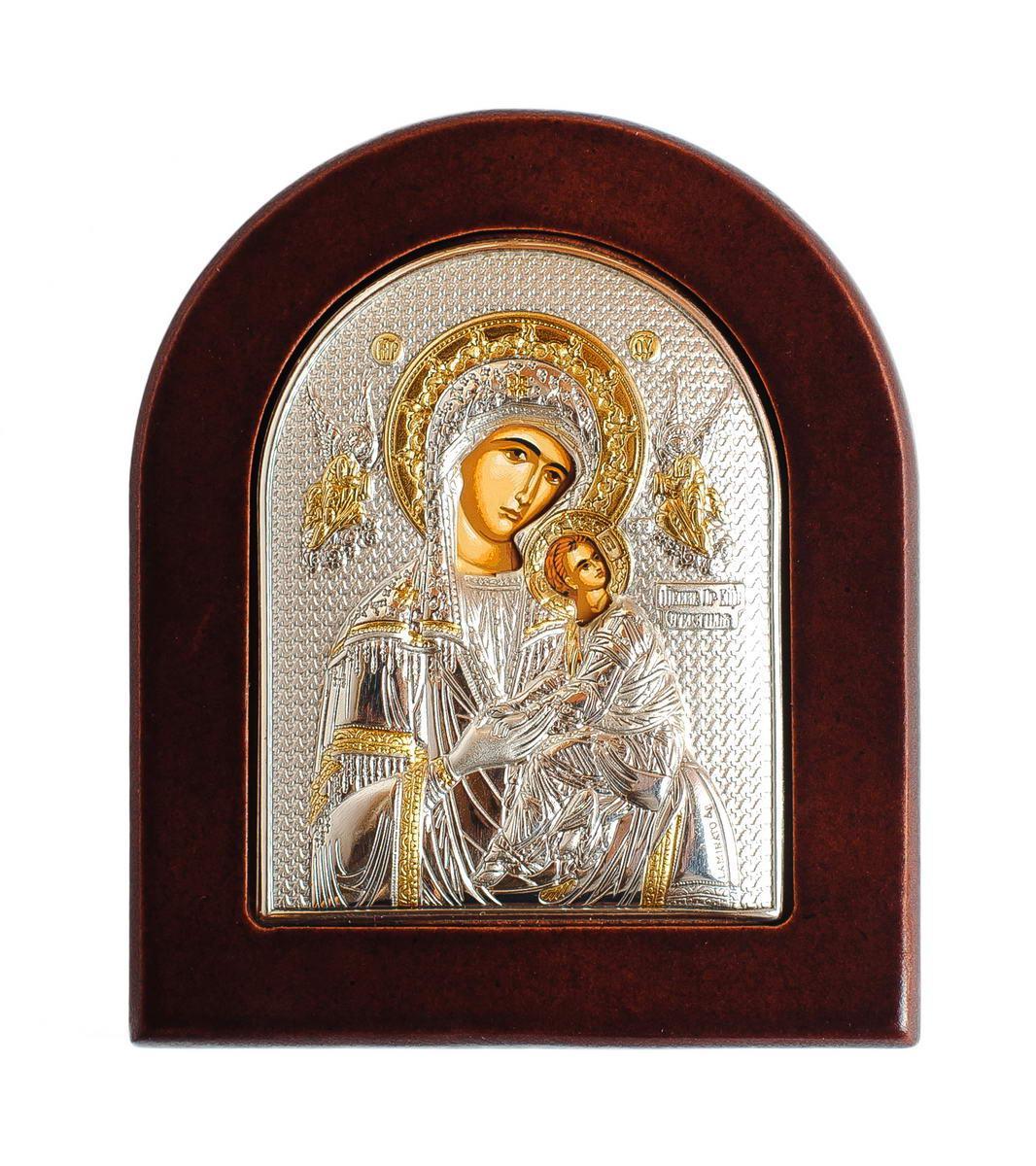 Страстная Божья Матерь 8,5х10см Греческая икона  в серебре и золоте (GOLD)