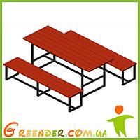 Стіл садовий, +2 лавки, дошка, лак