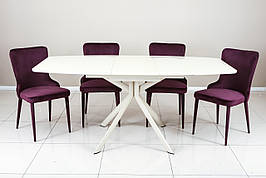 Стіл обідній зі скляною стільницею Олександрія -1 (B2402) TES Mobili, колір крем