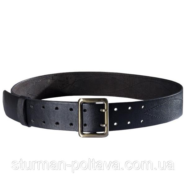 Ремень мужской кожаный армейский - партупея  цвет  черный   пряжка  - латунь