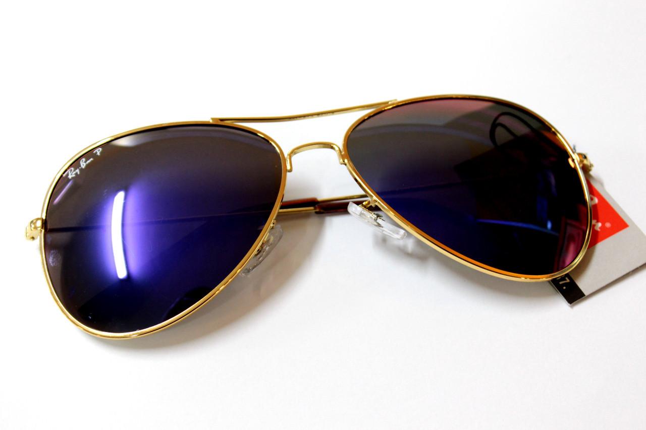 Очки Ray-Ban Aviator Polaroid фиолетовые. золотая оправа