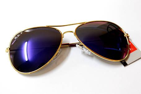 Очки Ray-Ban Aviator Polaroid фиолетовые. золотая оправа, фото 2