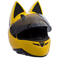 Мото Кото шлем с ушками женский MS-1650 Tanked Racing (ABS, размер М-55-56, желтый)